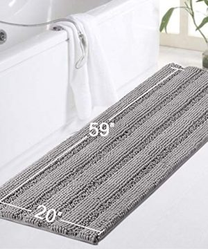 Gray Kitchen Runner Chenille Shag Area Rug Non Slip Backing For Kitchen Floor Runner Rug With Water Absorbent Bath Room Mat For KitchenTubLiving Room 59 X 20 Dove Gray Striped Pattern 0 3 300x360