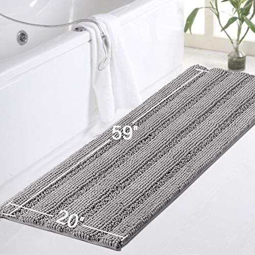 Gray Kitchen Runner Chenille Shag Area Rug Non Slip Backing For Kitchen Floor Runner Rug With Water Absorbent Bath Room Mat For KitchenTubLiving Room 59 X 20 Dove Gray Striped Pattern 0 3