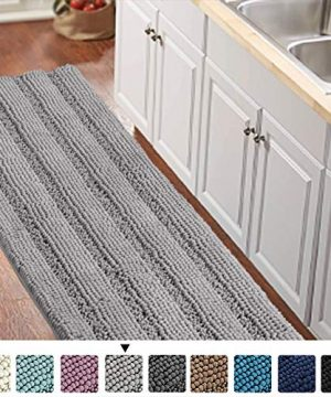 Gray Kitchen Runner Chenille Shag Area Rug Non Slip Backing For Kitchen Floor Runner Rug With Water Absorbent Bath Room Mat For KitchenTubLiving Room 59 X 20 Dove Gray Striped Pattern 0 300x360
