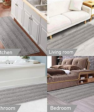 Gray Kitchen Runner Chenille Shag Area Rug Non Slip Backing For Kitchen Floor Runner Rug With Water Absorbent Bath Room Mat For KitchenTubLiving Room 59 X 20 Dove Gray Striped Pattern 0 4 300x360