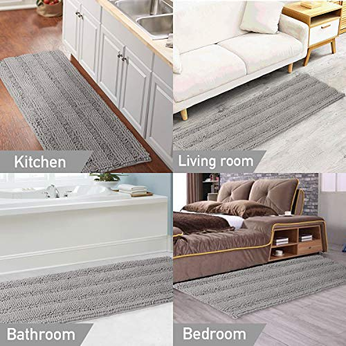 Gray Kitchen Runner Chenille Shag Area Rug Non Slip Backing For Kitchen Floor Runner Rug With Water Absorbent Bath Room Mat For KitchenTubLiving Room 59 X 20 Dove Gray Striped Pattern 0 4