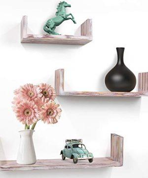 Greenco Set Of 3 Rustic U Shelves Decor Display Floating Shelf 0 0 300x360