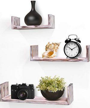 Greenco Set Of 3 Rustic U Shelves Decor Display Floating Shelf 0 300x360