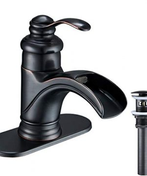 Greenspring Waterfall Single Handle Hole Bathroom Sink Faucet Commercial Oil Rubbed Bronze 0 300x360