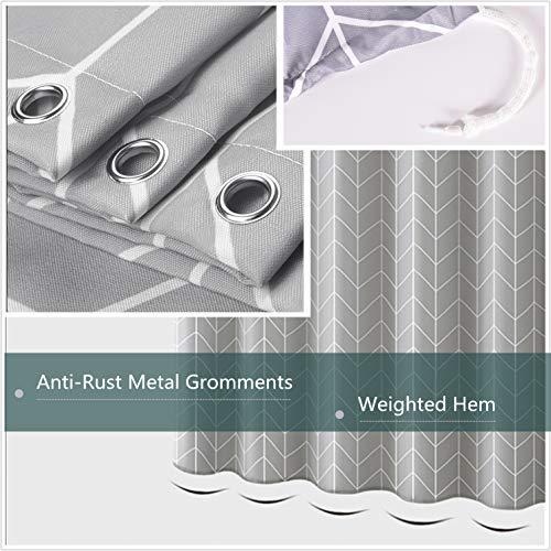 Grey Shower Curtain Farmhouse Fabric Cloth Shower Curtains For Bathroom 72 X 72 Light Gray White Stripe Machine Washable 0 2