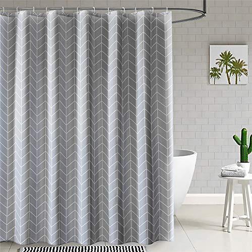 Grey Shower Curtain Farmhouse Fabric Cloth Shower Curtains For Bathroom 72 X 72 Light Gray White Stripe Machine Washable 0 5