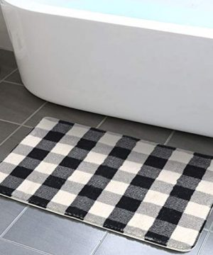 HAOCOO Bathroom Rugs 18x25 Inch Black And Beige Buffalo Check Velvet Bath Mat Non Slip Door Carpet Soft Luxury Microfiber Machine Washable Floor Rug For Doormats Tub Shower 0 300x360
