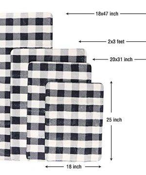 HAOCOO Bathroom Rugs 18x25 Inch Black And Beige Buffalo Check Velvet Bath Mat Non Slip Door Carpet Soft Luxury Microfiber Machine Washable Floor Rug For Doormats Tub Shower 0 4 300x360