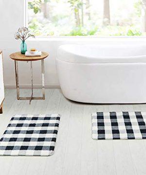 HAOCOO Bathroom Rugs 18x25 Inch Black And Beige Buffalo Check Velvet Bath Mat Non Slip Door Carpet Soft Luxury Microfiber Machine Washable Floor Rug For Doormats Tub Shower 0 5 300x360