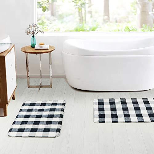 HAOCOO Bathroom Rugs 18x25 Inch Black And Beige Buffalo Check Velvet Bath Mat Non Slip Door Carpet Soft Luxury Microfiber Machine Washable Floor Rug For Doormats Tub Shower 0 5