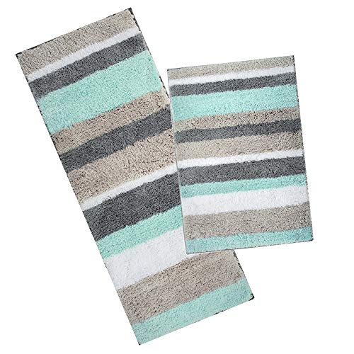 HEBE Non Slip Microfiber Bath Rug Mat And Runner For Bathroom Extra Soft Thick Bathroom Rug Floor Carpet Water Absorbent Machine Washable26x1848x18 0