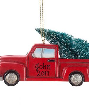 HOLIDAY PEAK Personalized Red Truck With Tree Ornament 0 300x360