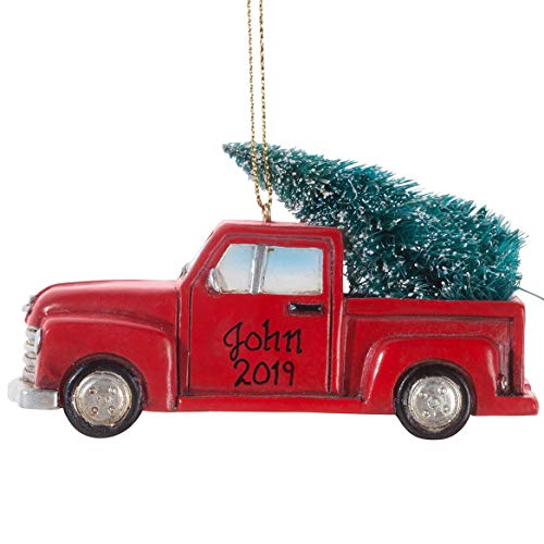 HOLIDAY PEAK Personalized Red Truck With Tree Ornament 0