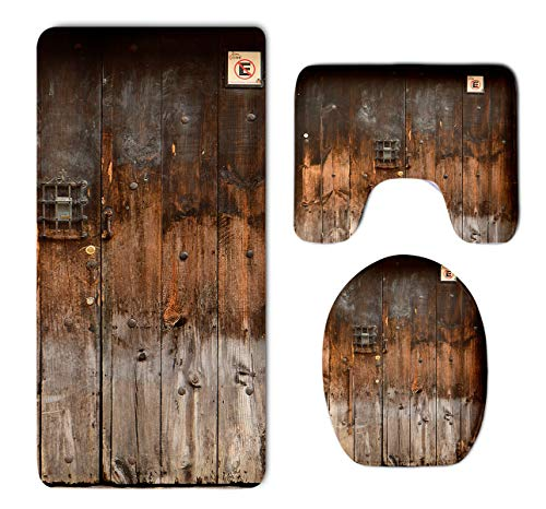 HOMESTORES 3 Piece Bathroom Rug Set Rustic Country Wood Style Rustic Country Barn Wood Door Set Skidproof Toilet Bath Rug Mat U Shape Contour Lid Cover For Shower Spa 0