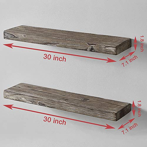 HSH Rustic Wood Floating Shelf Rugged Reclaimed Solid Wooden Wall Shelf Farmhouse Industrial Vintage Mount Shelving Natural Pine 30 X 71 Inch Set Of 2 0 1
