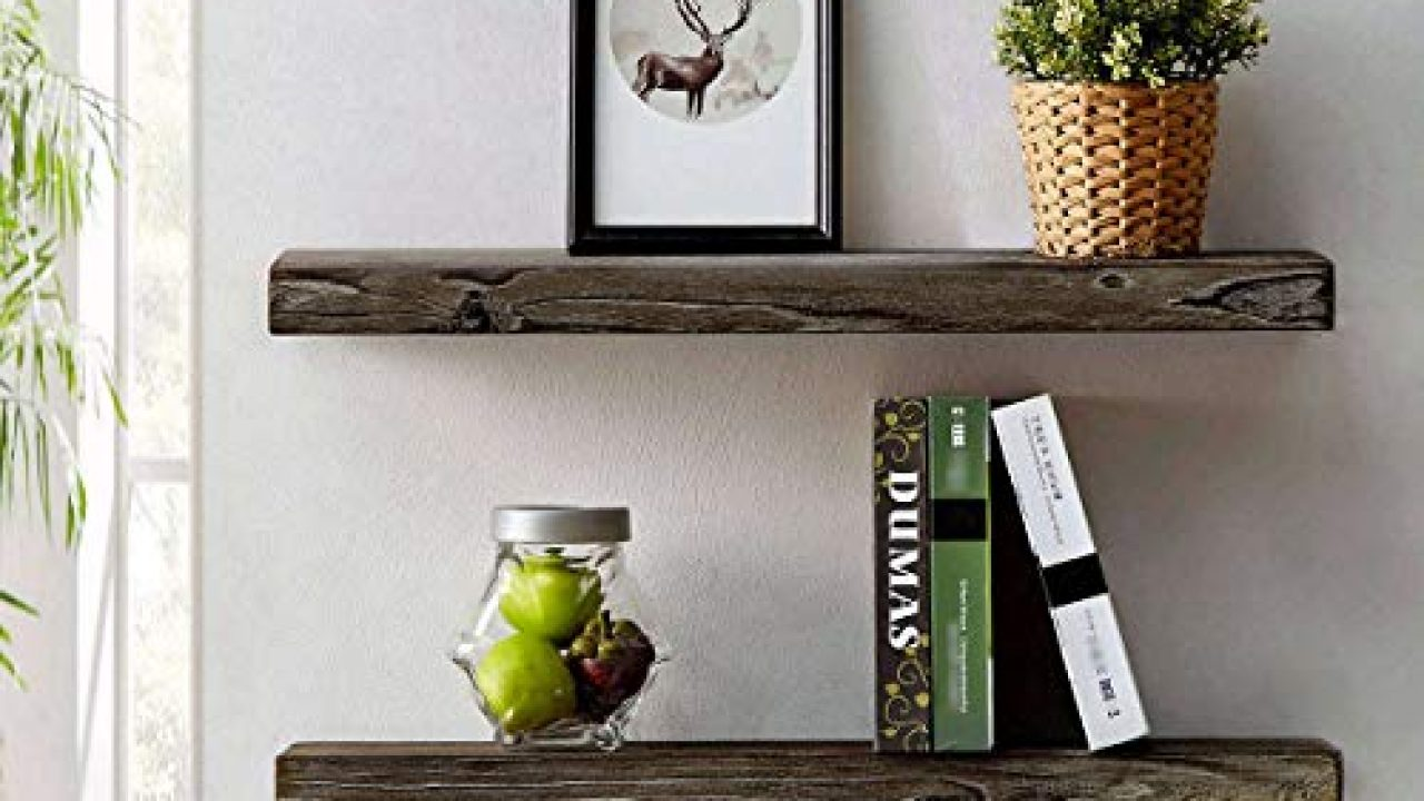 hsh rustic wood floating shelf rugged reclaimed solid wooden wall shelf farmhouse industrial vintage mount shelving natural pine 30 x 7 1 inch set of 2