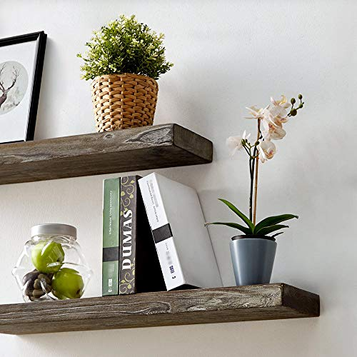 HSH Rustic Wood Floating Shelf Rugged Reclaimed Solid Wooden Wall Shelf Farmhouse Industrial Vintage Mount Shelving Natural Pine 30 X 71 Inch Set Of 2 0 2