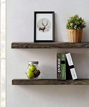 HSH Rustic Wood Floating Shelf Rugged Reclaimed Solid Wooden Wall Shelf Farmhouse Industrial Vintage Mount Shelving Natural Pine 30 X 71 Inch Set Of 2 0 300x360