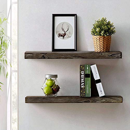 HSH Rustic Wood Floating Shelf Rugged Reclaimed Solid Wooden Wall Shelf Farmhouse Industrial Vintage Mount Shelving Natural Pine 30 X 71 Inch Set Of 2 0
