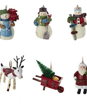 Hallmark Christmas Ornaments Rustic Snowman Santa And Reindeer Holiday Decorations Set Of 6 Gary Head 0 300x360