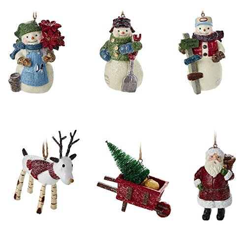 Hallmark Christmas Ornaments Rustic Snowman Santa And Reindeer Holiday Decorations Set Of 6 Gary Head 0