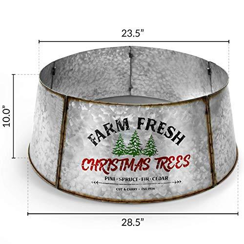 Hallops Galvanized Tree Collar Large To Small Christmas Tree Adjustable Metal Skirt Christmas Decor 0 2
