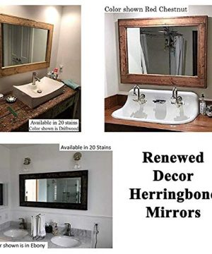 Herringbone Window 6 Pane Mirror Reclaimed Wood Framed Mirror Housewares Woodwork Rustic Modern Home Home Decor Available in 20 Stain colors: Shown in Dark Walnut Large Wall Mirror