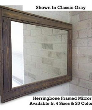 Herringbone Reclaimed Wood Framed Mirror Available In 4 Sizes And 20 Stain Colors Shown In Dark Walnut Large Wall Mirror Rustic Modern Home Home Decor Mirror Housewares Woodwork Frame 0 1 300x360