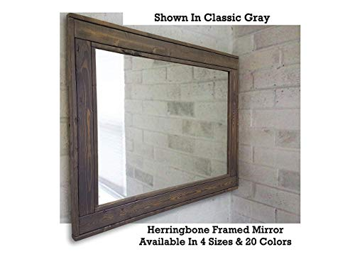 Herringbone Reclaimed Wood Framed Mirror Available In 4 Sizes And 20 Stain Colors Shown In Dark Walnut Large Wall Mirror Rustic Modern Home Home Decor Mirror Housewares Woodwork Frame 0 1