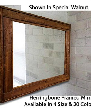Herringbone Reclaimed Wood Framed Mirror Available In 4 Sizes And 20 Stain Colors Shown In Dark Walnut Large Wall Mirror Rustic Modern Home Home Decor Mirror Housewares Woodwork Frame 0 2 300x360