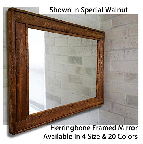 Herringbone Reclaimed Wood Framed Mirror Available In 4 Sizes And 20 Stain Colors Shown In Dark Walnut Large Wall Mirror Rustic Modern Home Home Decor Mirror Housewares Woodwork Frame 0 2
