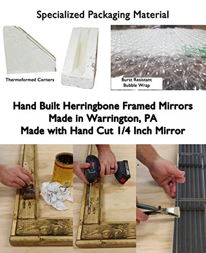 Herringbone Reclaimed Wood Framed Mirror Available In 4 Sizes And 20 Stain Colors Shown In Dark Walnut Large Wall Mirror Rustic Modern Home Home Decor Mirror Housewares Woodwork Frame 0 6