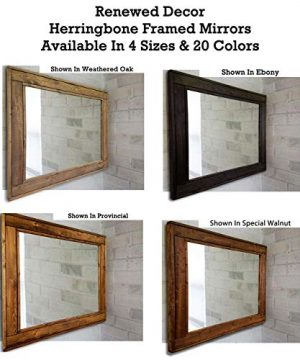 Herringbone Reclaimed Wood Framed Mirror Available In 4 Sizes And 20 Stain Colors Shown In Dark Walnut Large Wall Mirror Rustic Modern Home Home Decor Mirror Housewares Woodwork Frame 0 7 300x360