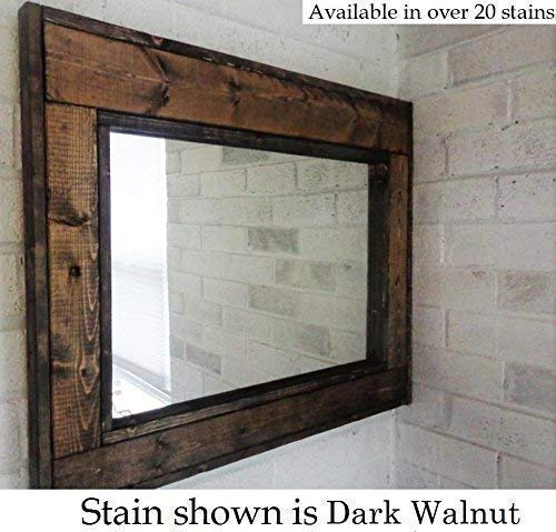 Herringbone Reclaimed Wood Framed Mirror Available In 4 Sizes And 20 Stain Colors Shown In Dark Walnut Large Wall Mirror Rustic Modern Home Home Decor Mirror Housewares Woodwork Frame 0