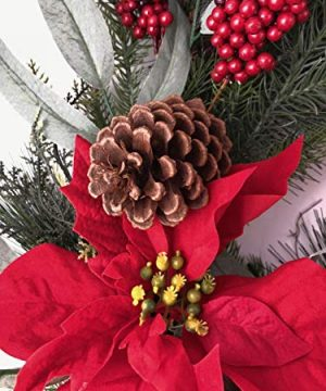 Holiday 24 Christmas Door Wreath Poinsettias Wall Large Fake Artificial Winter Wreath 0 0 300x360