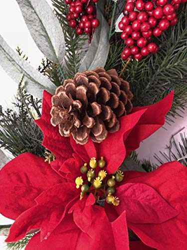Holiday 24 Christmas Door Wreath Poinsettias Wall Large Fake Artificial Winter Wreath 0 0