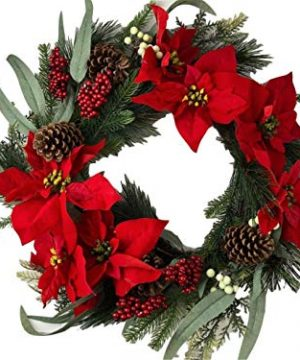 Holiday 24 Christmas Door Wreath Poinsettias Wall Large Fake Artificial Winter Wreath 0 300x360