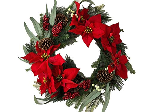 Holiday 24 Christmas Door Wreath Poinsettias Wall Large Fake Artificial Winter Wreath 0