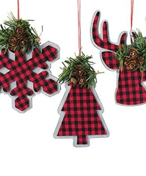 Holiday Burton Plaid Christmas Tree Ornaments Farmhouse Rustic Checkered 3Pc Deer Snowflake Treee Red Plaid 0 300x360