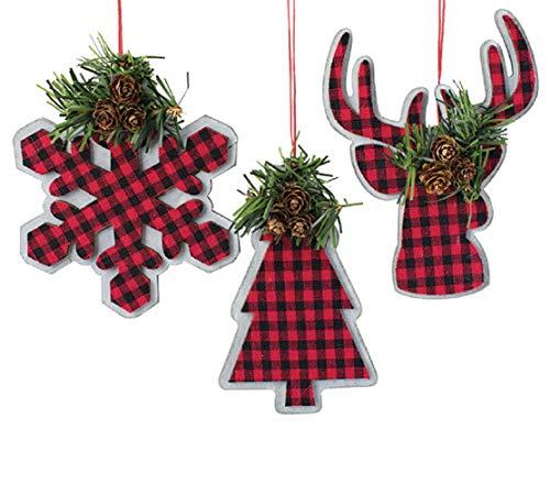 Holiday Burton Plaid Christmas Tree Ornaments Farmhouse Rustic Checkered 3Pc Deer Snowflake Treee Red Plaid 0