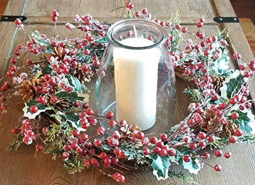 Holly Red Berry Pinecone Frosted Snow Christmas Winter Holiday Door Wreath Candle Ring 16 0 0