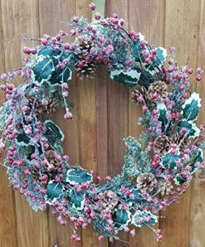 Holly Red Berry Pinecone Frosted Snow Christmas Winter Holiday Door Wreath Candle Ring 16 0 1 300x360