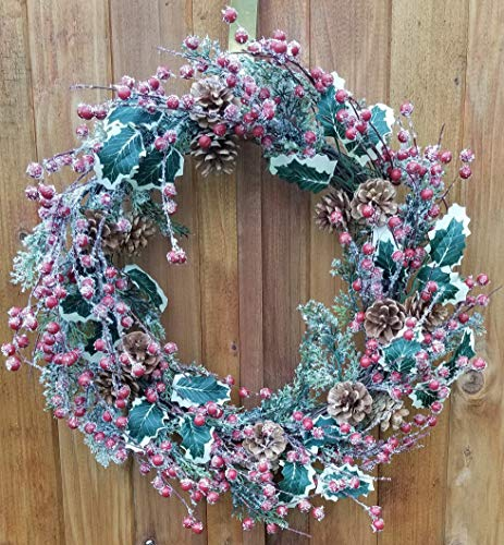 Holly Red Berry Pinecone Frosted Snow Christmas Winter Holiday Door Wreath Candle Ring 16 0 1