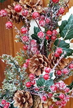 Holly Red Berry Pinecone Frosted Snow Christmas Winter Holiday Door Wreath Candle Ring 16 0 2 243x360
