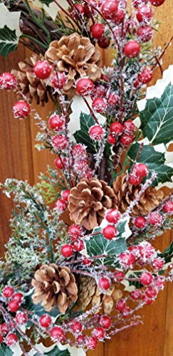 Holly Red Berry Pinecone Frosted Snow Christmas Winter Holiday Door Wreath Candle Ring 16 0 2