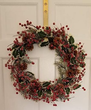 Holly Red Berry Pinecone Frosted Snow Christmas Winter Holiday Door Wreath Candle Ring 16 0 3 300x360