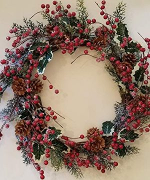 Holly Red Berry Pinecone Frosted Snow Christmas Winter Holiday Door Wreath Candle Ring 16 0 300x360