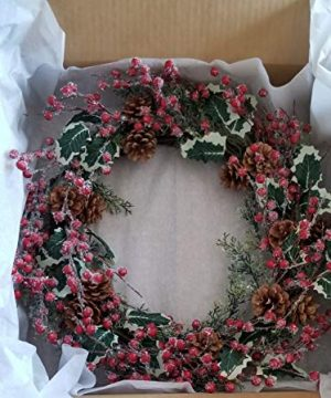 Holly Red Berry Pinecone Frosted Snow Christmas Winter Holiday Door Wreath Candle Ring 16 0 4 300x360