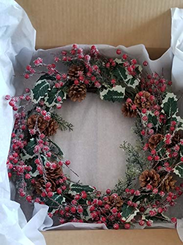 Holly Red Berry Pinecone Frosted Snow Christmas Winter Holiday Door Wreath Candle Ring 16 0 4