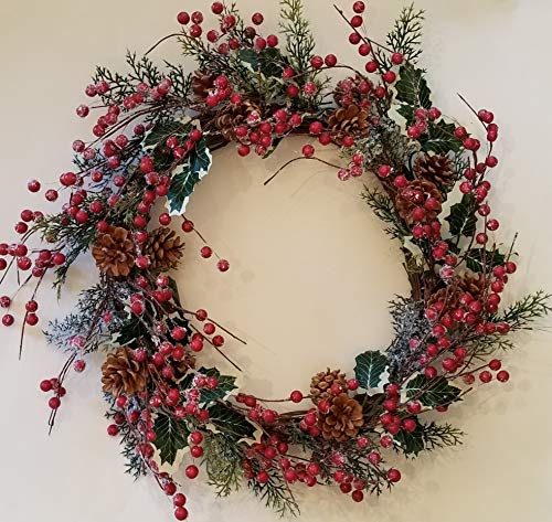 Holly Red Berry Pinecone Frosted Snow Christmas Winter Holiday Door Wreath Candle Ring 16 0